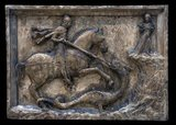 Saint George and the Dragon often featured on houses in Venice belonging to the Scuola degli Schiavoni (Guild of Slavs) or its members. St. George was the patron saint of Dalmatia, and the guild was set up for the benefit of Slav merchants.
